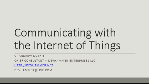 "Slides for ""Communicating with the Internet of Things"""