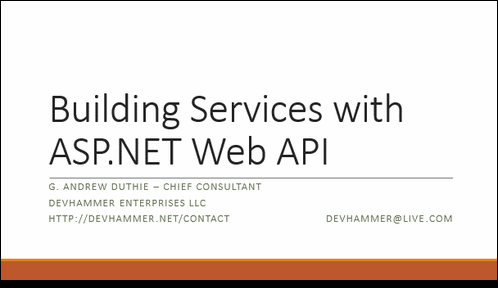 Slides and Code for NoVA Code Camp – Building Services with Web API