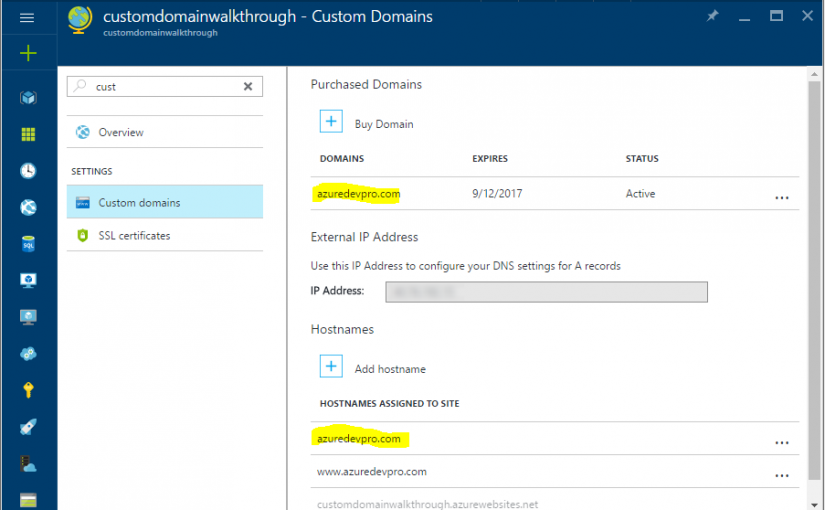 Custom Domains the Easy Way in Azure Web Apps